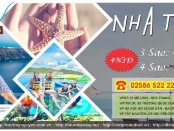 TOUR: NHA TRANG – VINPEARL – 4 ĐẢO – NHA PHU – CITY TOUR 4N3Đ